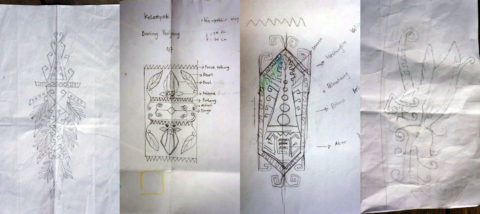 Sketsa-sketsa pola tenunan baru. Dokumentasi: Sari Wulandari.