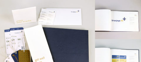 Identitas visual: Sriwijaya Air. Desain: Fariani Anggraeni. Studio: Tugas Akhir.