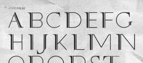 Huruf: Asperville 01. Desain: Christian Adychandra. Studio: Tipografi.