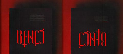 Ambigram: Benci-Cinta. Desain: Pramuditho. Studio: Tipografi.