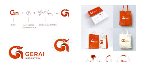 Identitas visual: Gerai Nusantara. Desain: Stephen Dharmadi. Studio: DKV.